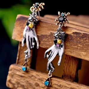 Spider Earrings With Dangling Hands